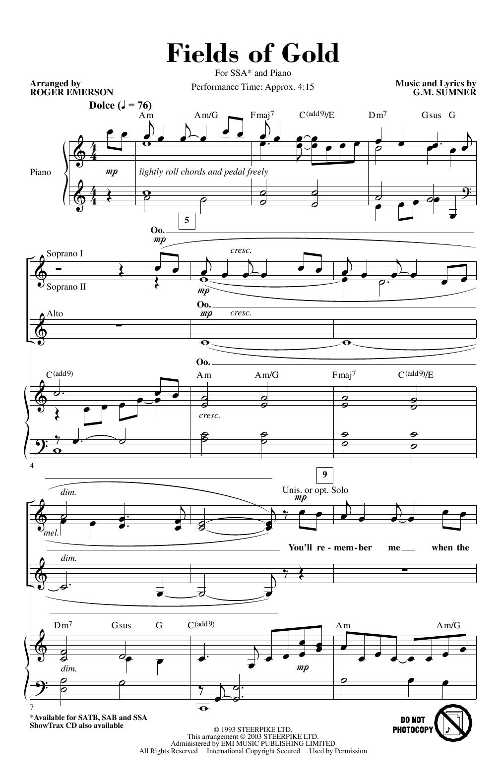 Fields Of Gold (arr. Roger Emerson) (SSA Choir)