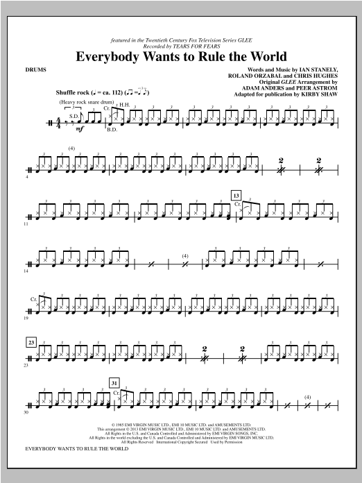 Everybody Wants to Rule the World - Drums Sheet Music