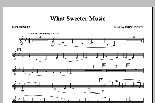 What Sweeter Music - Bb Clarinet 2 Sheet Music