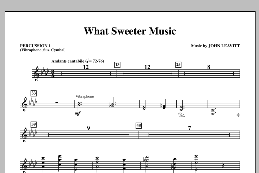 What Sweeter Music - Percussion 1 Sheet Music