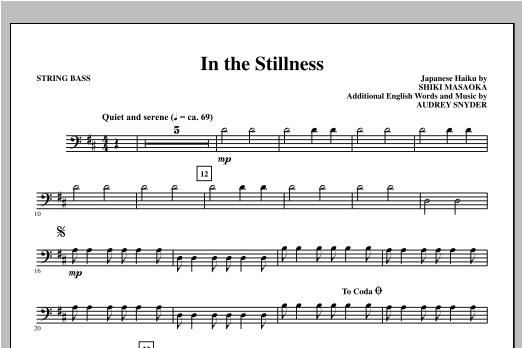 In the Stillness - Bass Sheet Music