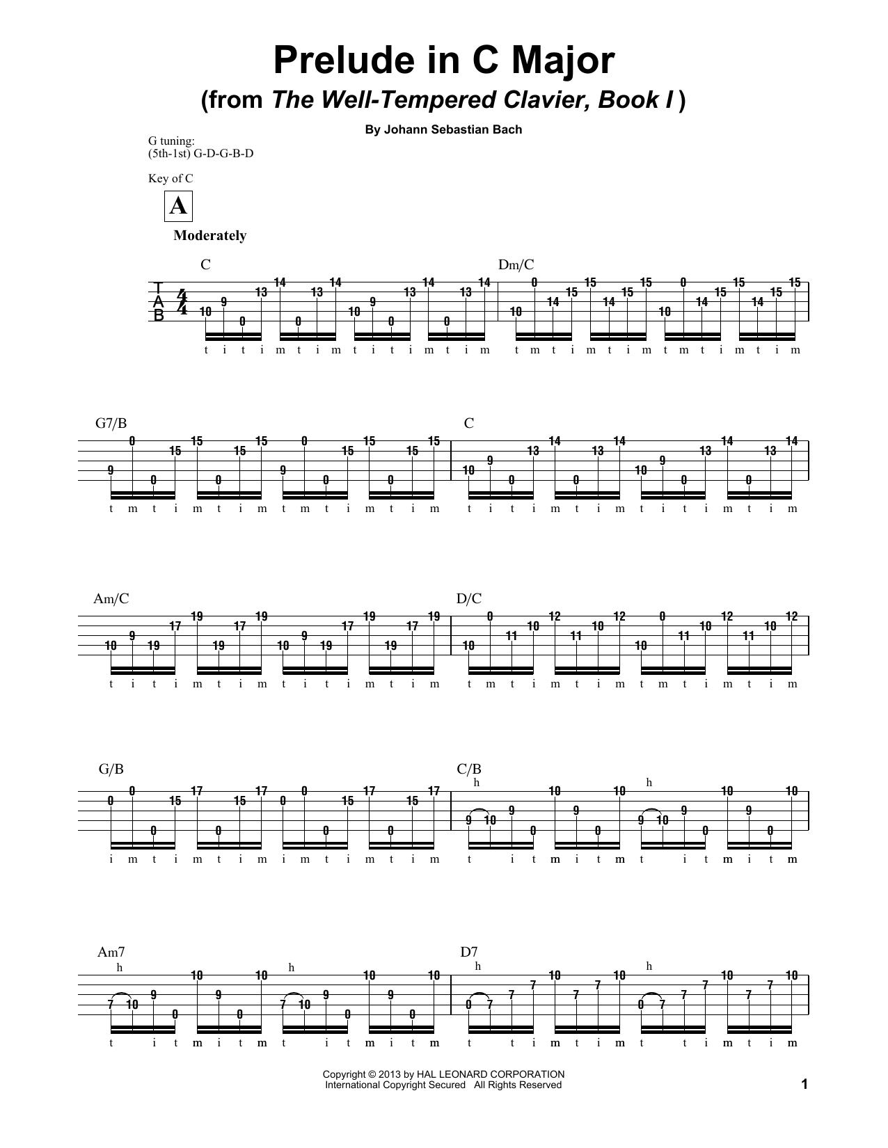 Prelude in C Major (Banjo Tab)