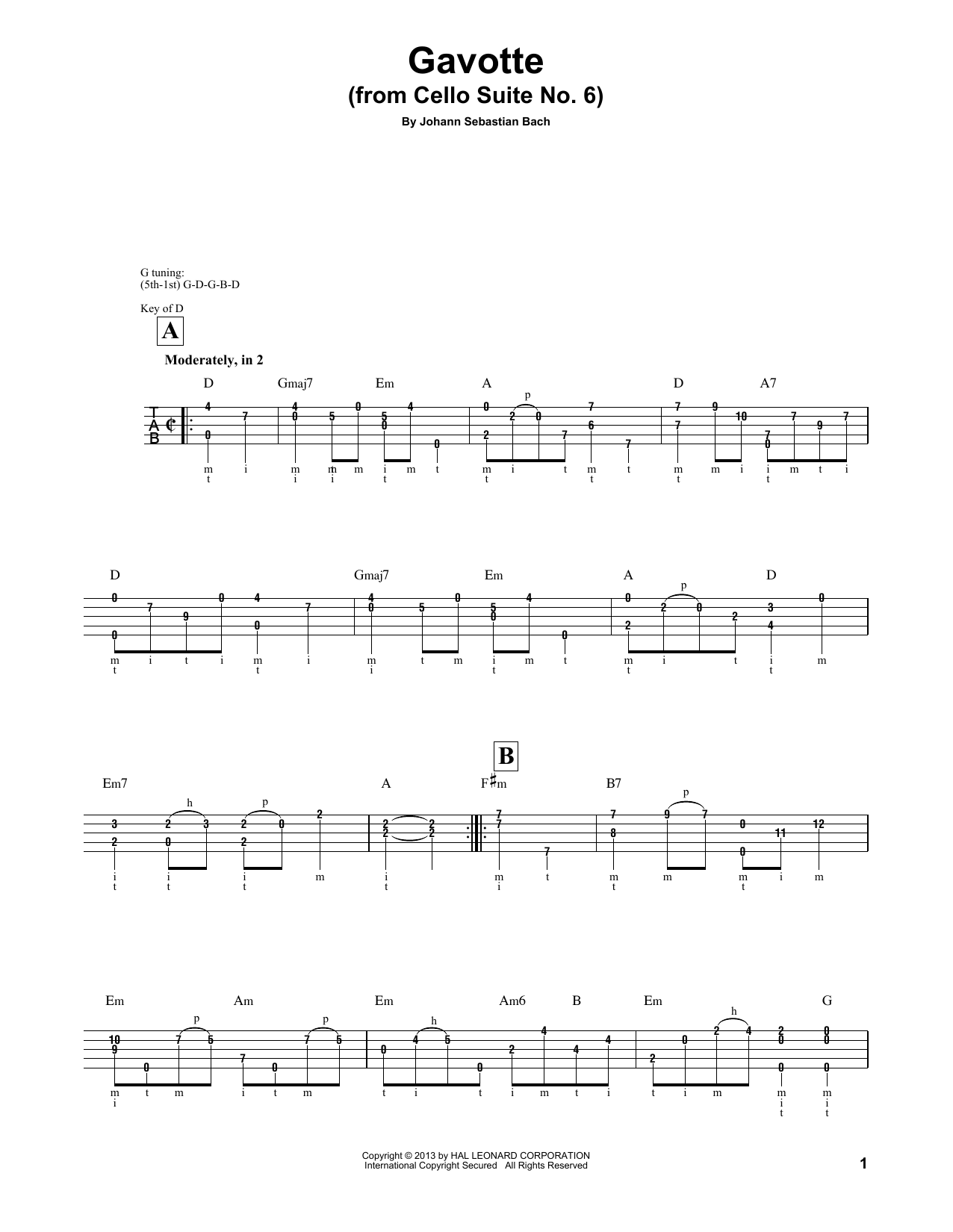 "Cello Suite No. 6, BWV 1012 ""Gavotte I"" Sheet Music"