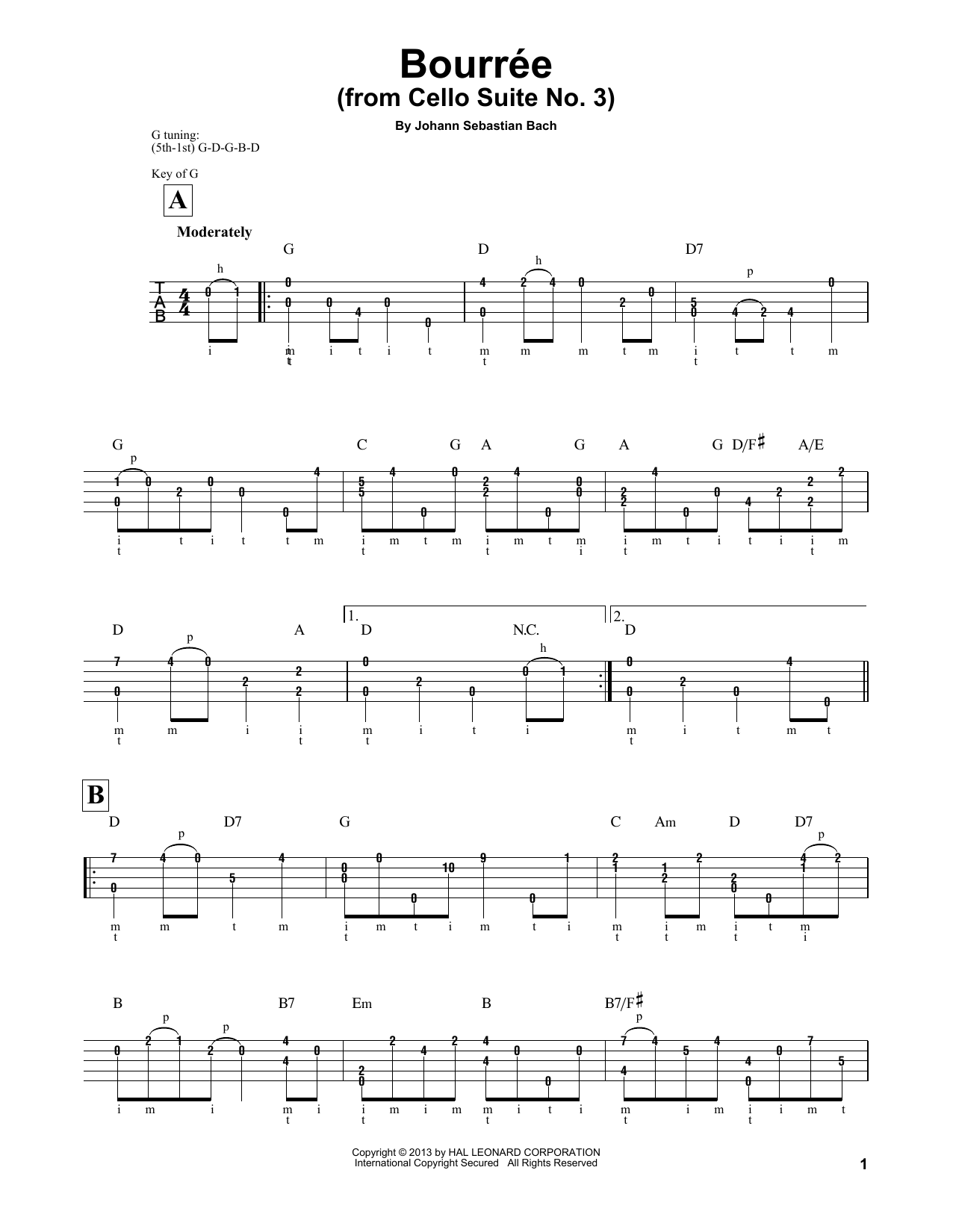 "Cello Suite No. 3, BWV 1009 ""Bourree I"" (Banjo Tab)"