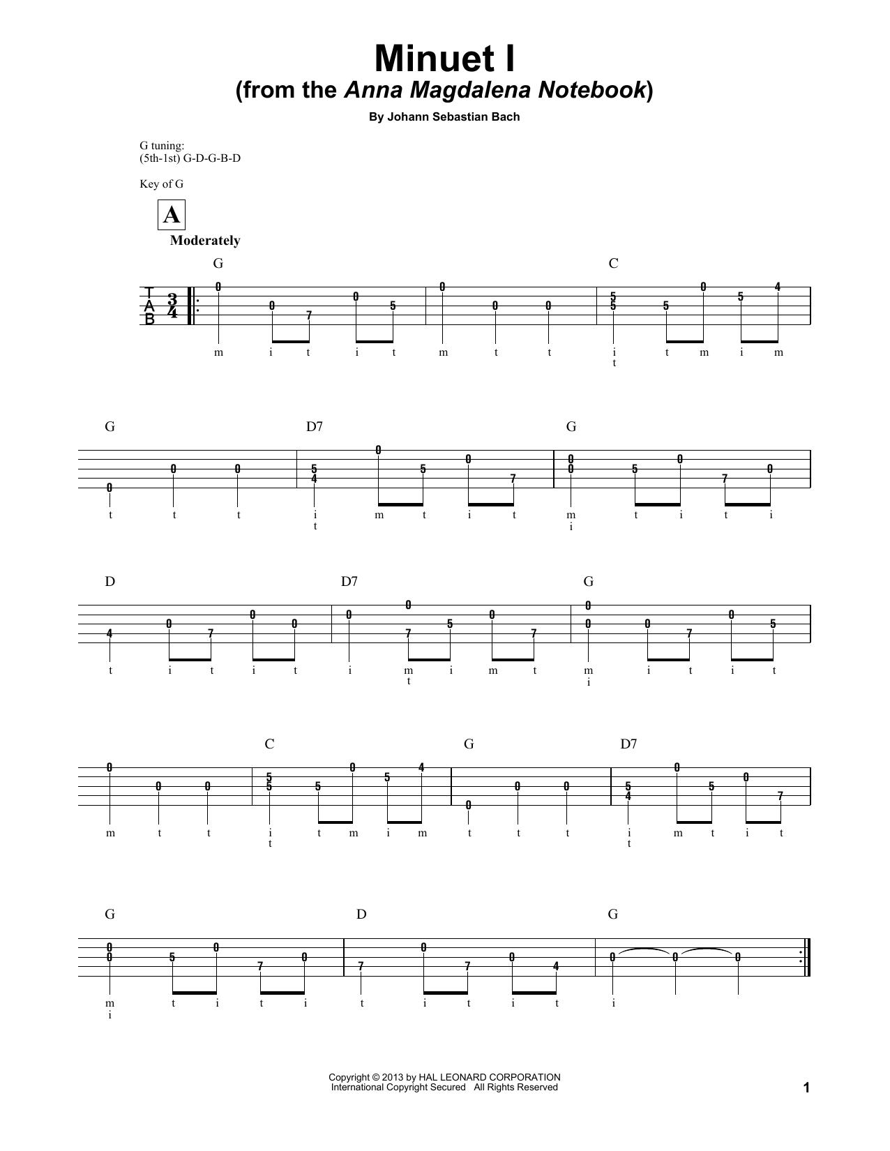 Minuet I (Anna Magdalena) Sheet Music
