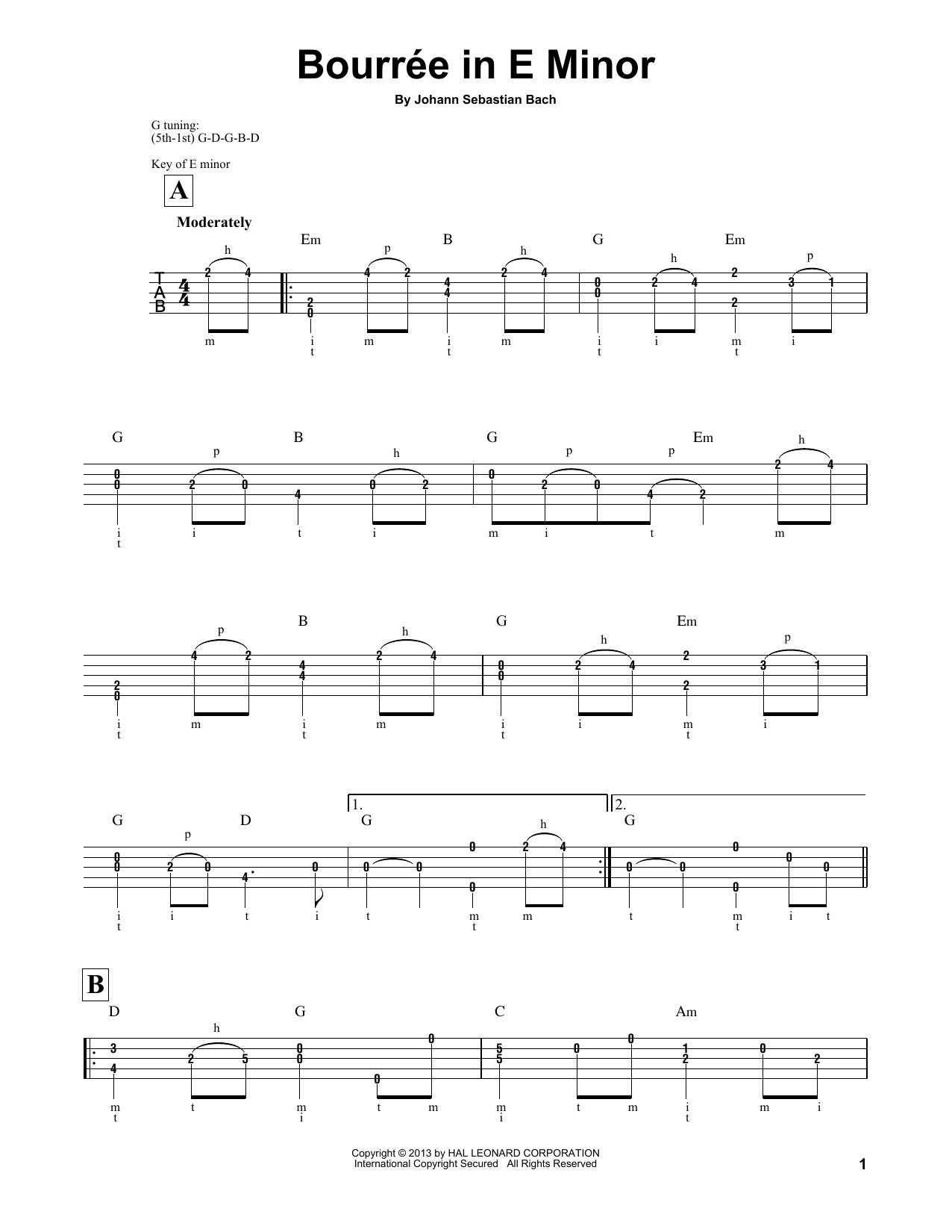 Bourree (Banjo Tab)