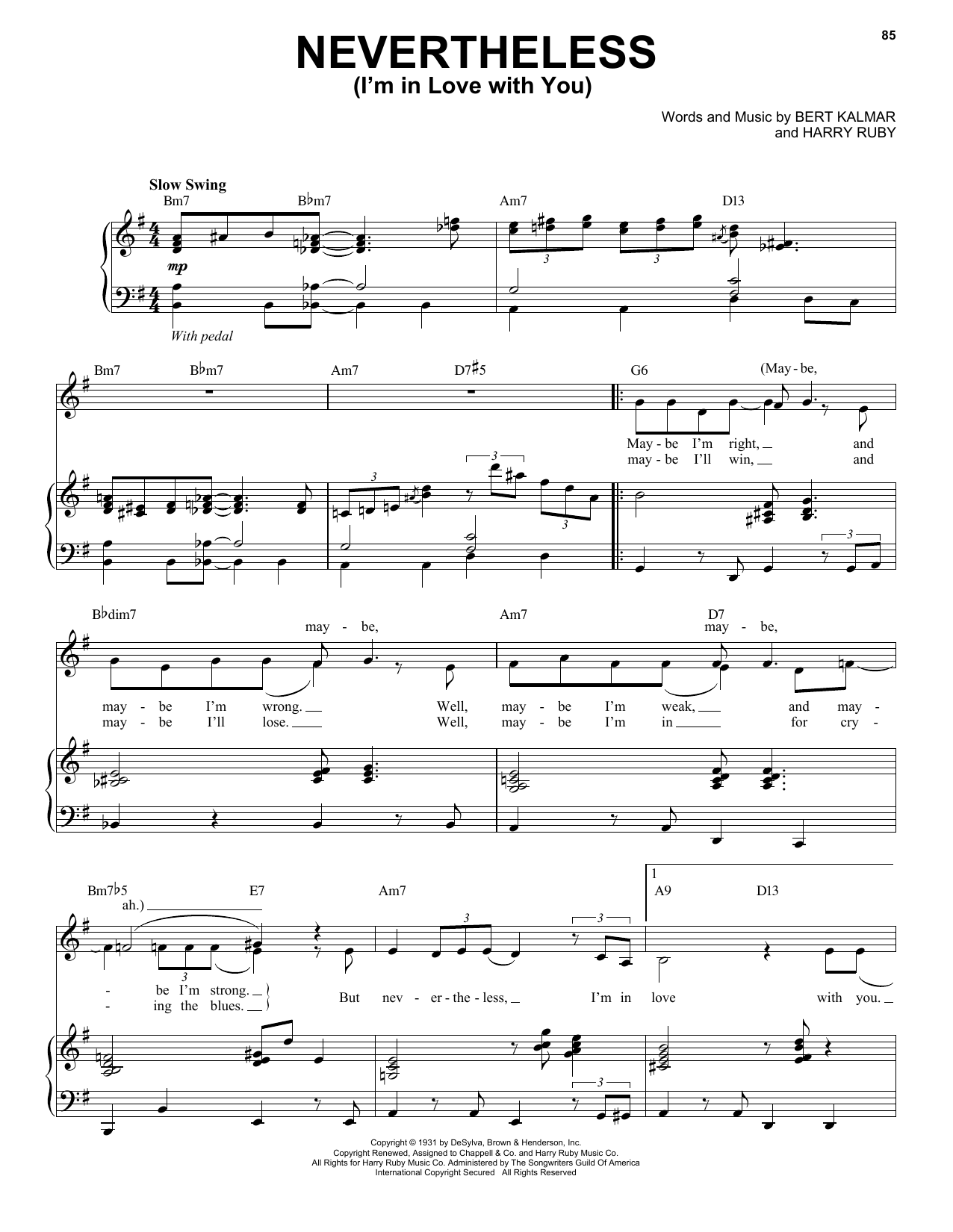 Nevertheless (I'm In Love With You) Sheet Music