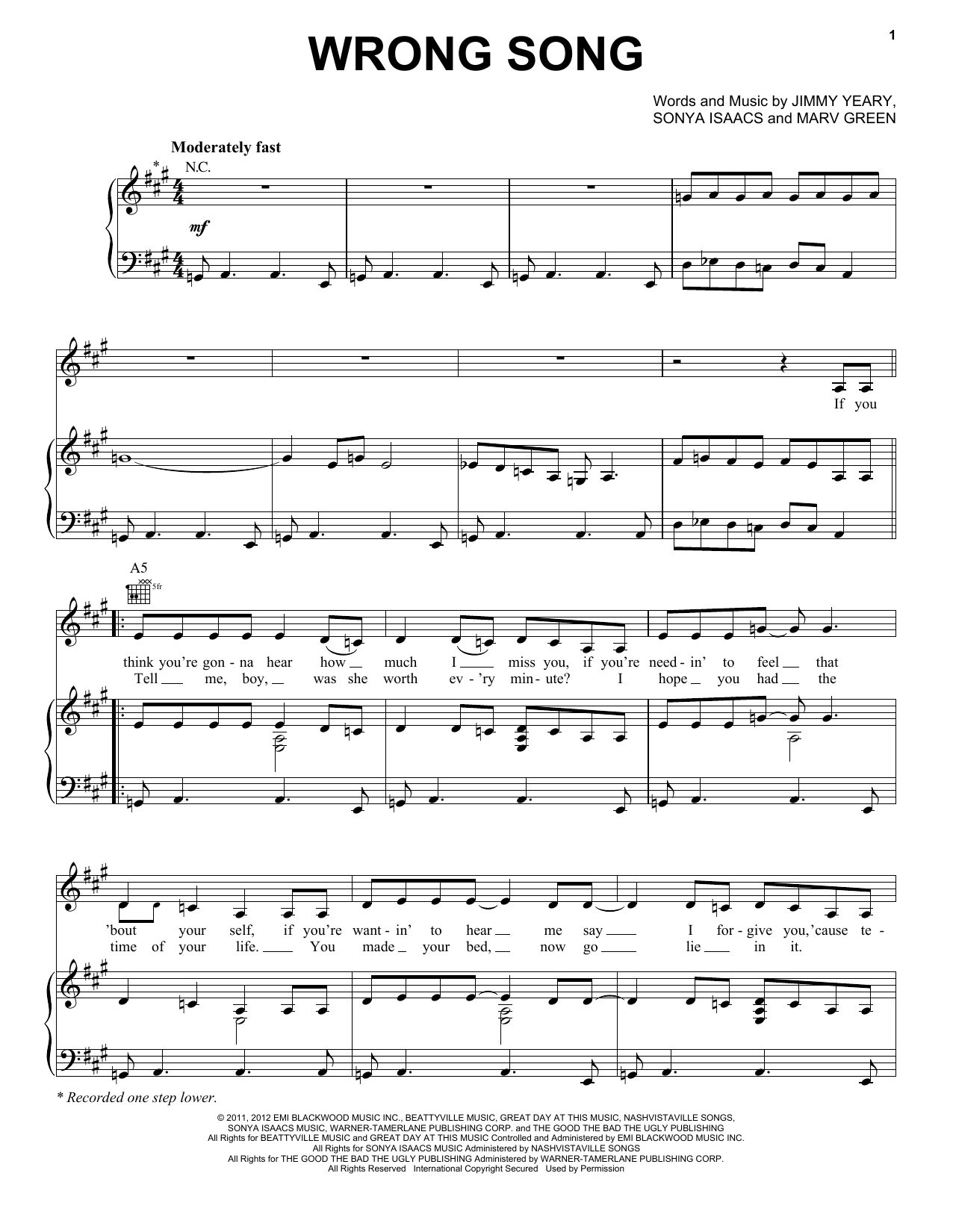Wrong Song (from the TV series 'Nashville') Sheet Music