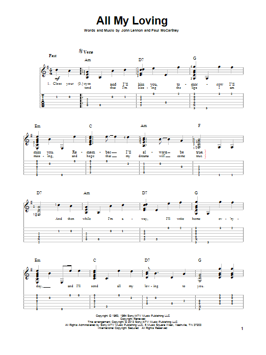 Tablature guitare All My Loving de The Beatles - Tablature Guitare