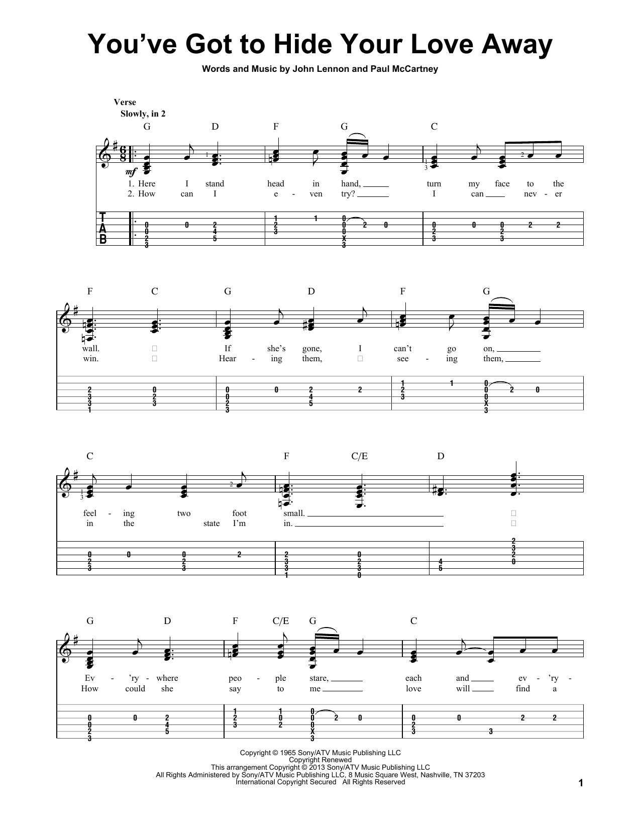 Tablature guitare You've Got To Hide Your Love Away de The Beatles - Tablature Guitare