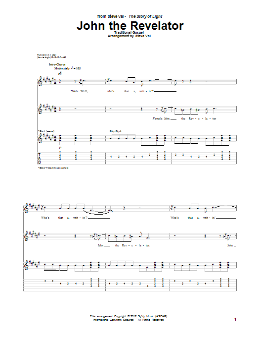 Tablature guitare John The Revelator de Steve Vai - Tablature Guitare