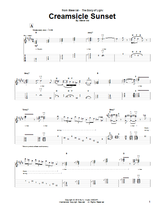 Tablature guitare Creamsicle Sunset de Steve Vai - Tablature Guitare