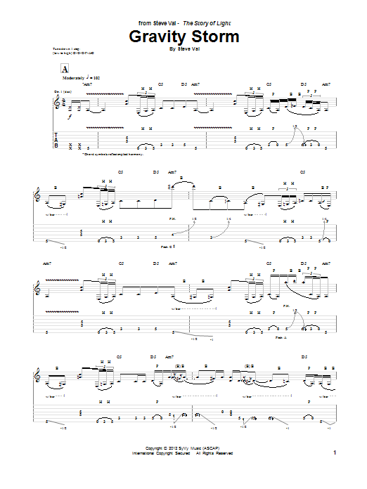 Tablature guitare Gravity Storm de Steve Vai - Tablature Guitare