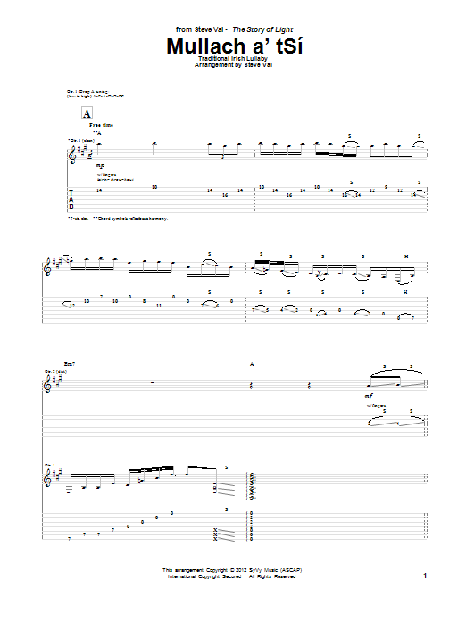 Tablature guitare Mullach a'tSi de Steve Vai - Tablature Guitare