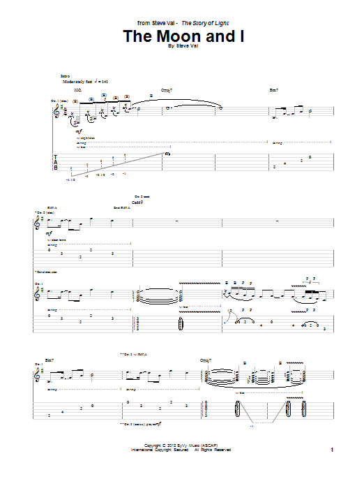 Tablature guitare The Moon And I de Steve Vai - Tablature Guitare