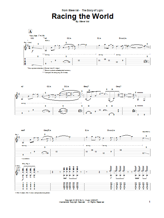 Tablature guitare Racing The World de Steve Vai - Tablature Guitare