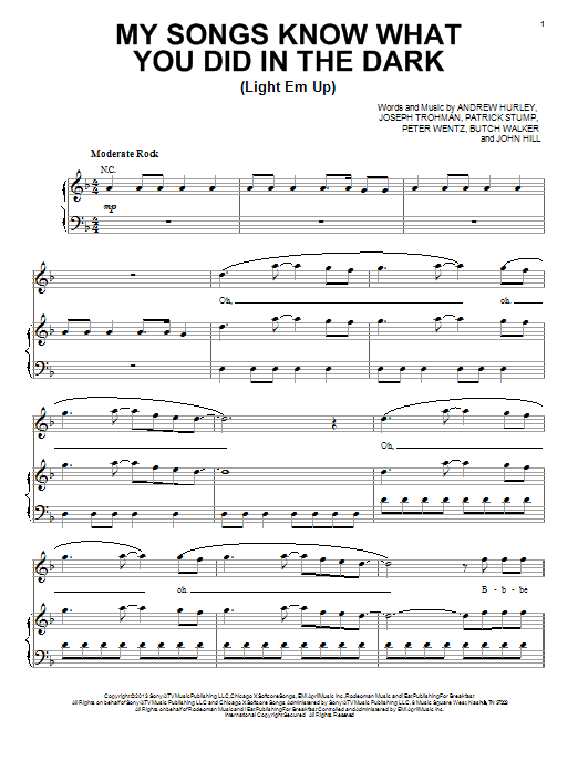 My Songs Know What You Did In The Dark (Light Em Up) : Sheet Music Direct