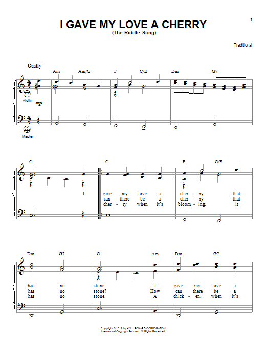 I Gave My Love A Cherry (The Riddle Song) Sheet Music