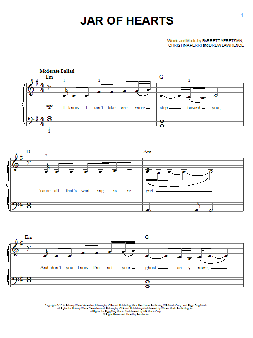 Jar Of Hearts Sheet Music Direct