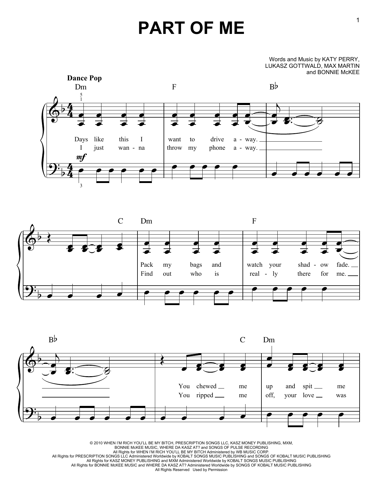 Part Of Me Sheet Music
