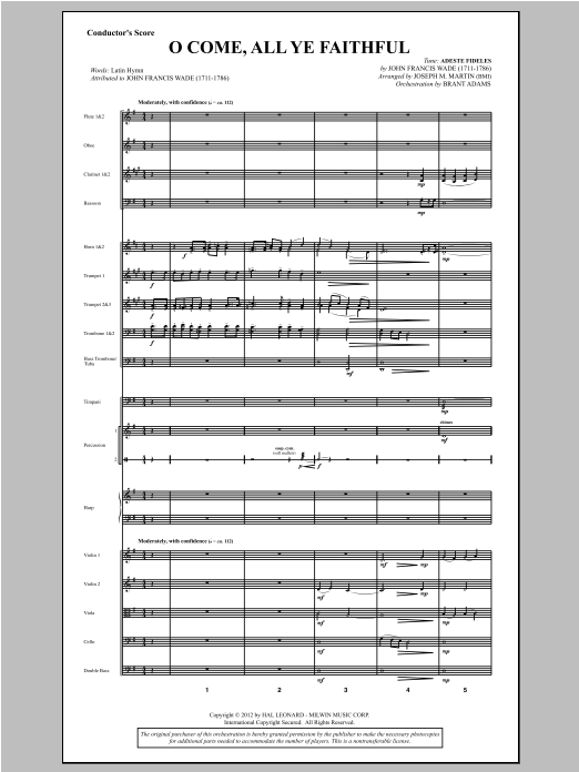 O Come, All Ye Faithful (from Carols For Choir And Congregation) (COMPLETE) sheet music for orchestra/band by Joseph M. Martin. Score Image Preview.