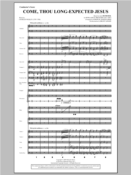 Come, Thou Long-Expected Jesus (from Carols For Choir And Congregation) (COMPLETE) sheet music for orchestra/band by Joseph M. Martin. Score Image Preview.