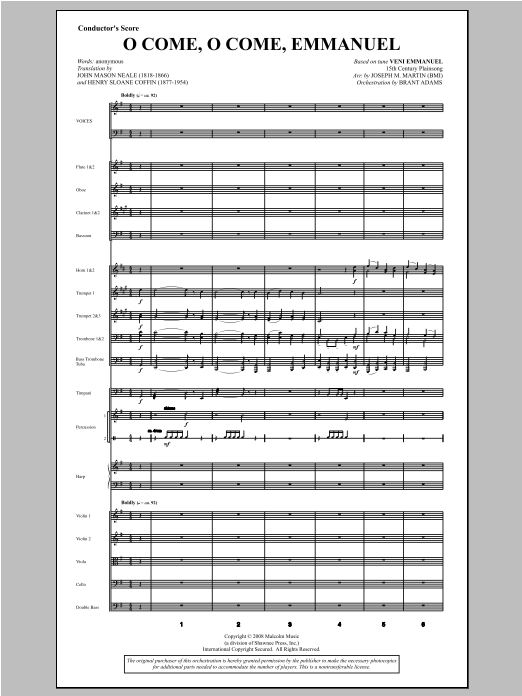O Come, O Come, Emmanuel (from Carols For Choir And Congregation) (COMPLETE) sheet music for orchestra/band by Joseph Martin and Joseph M. Martin. Score Image Preview.