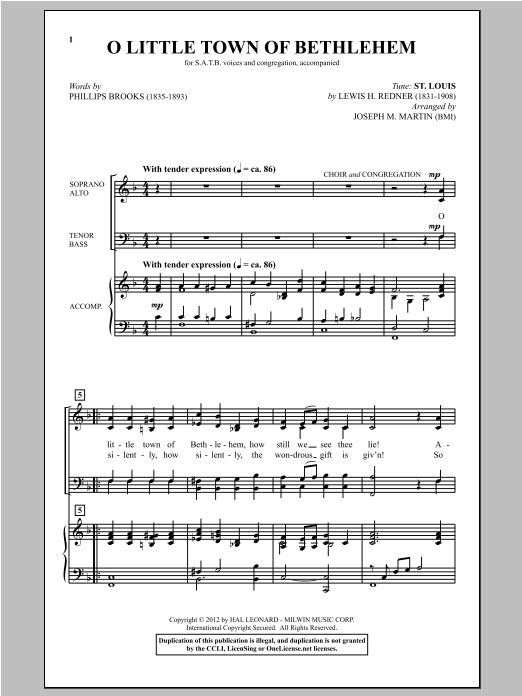 O Little Town Of Bethlehem (arr. Joseph M. Martin) Sheet Music