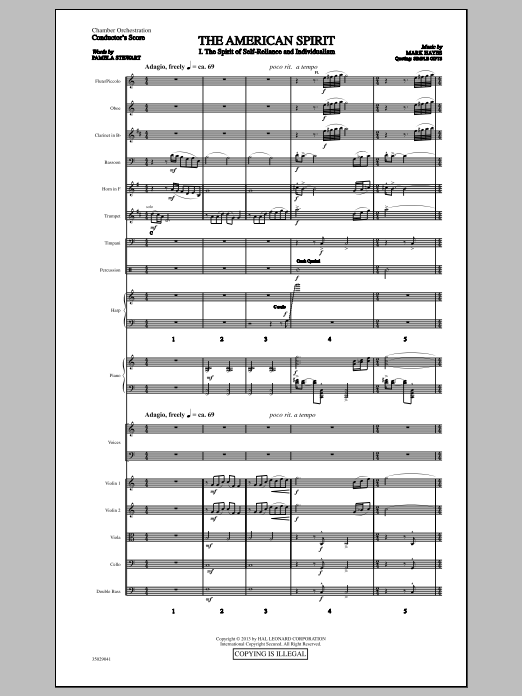 The American Spirit (COMPLETE) sheet music for orchestra/band (chamber ensemble) by Mark Hayes. Score Image Preview.