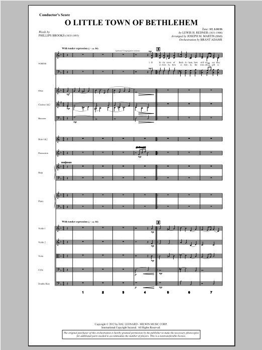 O Little Town Of Bethlehem (from Carols For Choir And Congregation) (COMPLETE) sheet music for orchestra/band by Joseph M. Martin. Score Image Preview.