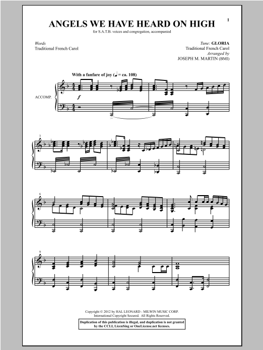 Angels We Have Heard On High (arr. Joseph M. Martin) Sheet Music