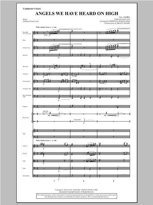Angels We Have Heard On High (from Carols For Choir And Congregation) (COMPLETE) sheet music for orchestra/band by Joseph M. Martin. Score Image Preview.