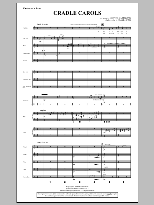 Cradle Carols (from Carols For Choir And Congregation) (COMPLETE) sheet music for orchestra/band by Joseph M. Martin. Score Image Preview.