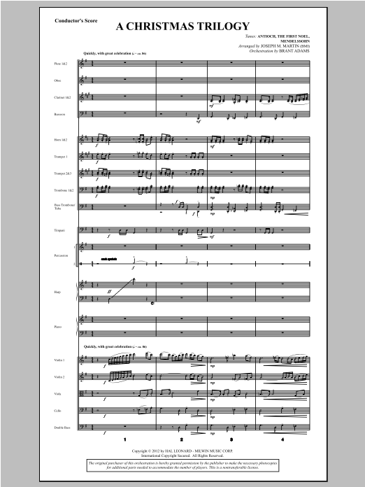 A Christmas Trilogy (from Carols For Choir And Congregation) (COMPLETE) sheet music for orchestra/band by Joseph M. Martin. Score Image Preview.