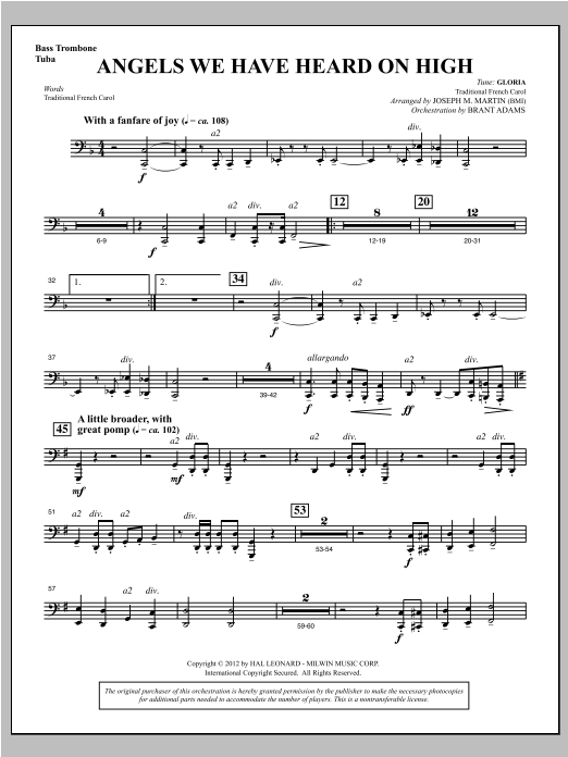 Angels We Have Heard On High (from Carols For Choir And Congregation) - Bass Trombone/Tuba Sheet Music