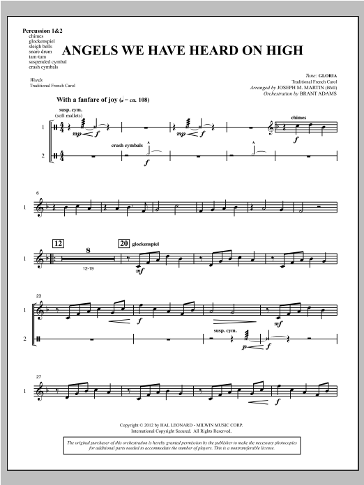 Angels We Have Heard On High (from Carols For Choir And Congregation) - Percussion 1 & 2 Partituras Digitales