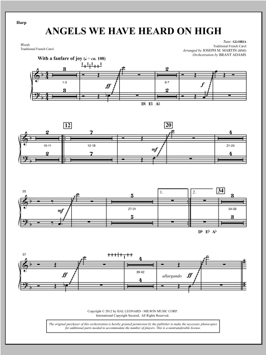 Angels We Have Heard On High (from Carols For Choir And Congregation) - Harp Sheet Music