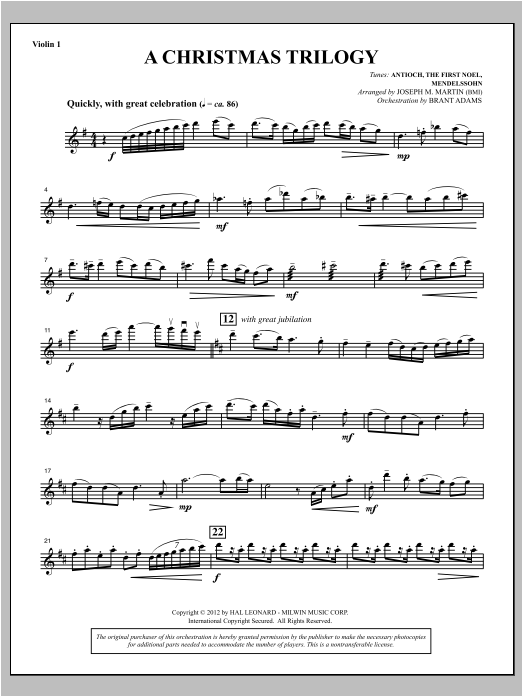 A Christmas Trilogy (from Carols For Choir And Congregation) - Violin 1 Sheet Music