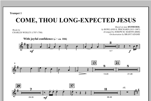 Come, Thou Long-Expected Jesus (from Carols For Choir And Congregation) - Bb Trumpet 1 Sheet Music