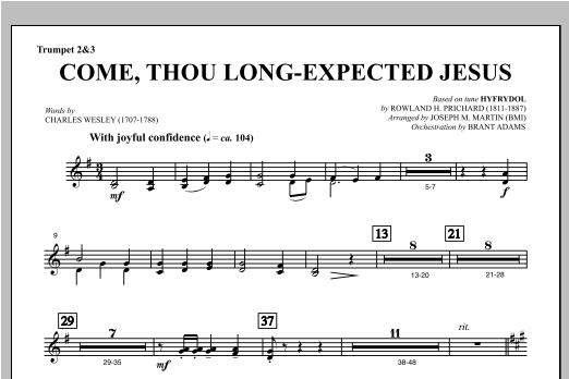 Come, Thou Long-Expected Jesus (from Carols For Choir And Congregation) - Bb Trumpet 2,3 Sheet Music