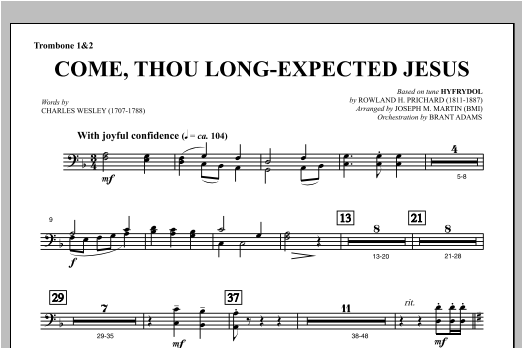 Come, Thou Long-Expected Jesus (from Carols For Choir And Congregation) - Trombone 1 & 2 Sheet Music