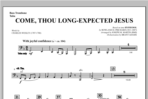 Come, Thou Long-Expected Jesus (from Carols For Choir And Congregation) - Bass Trombone/Tuba Sheet Music