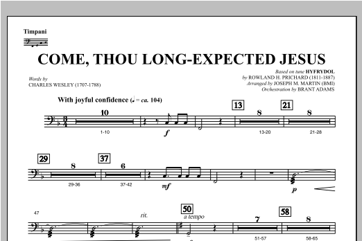 Come, Thou Long-Expected Jesus (from Carols For Choir And Congregation) - Timpani Sheet Music