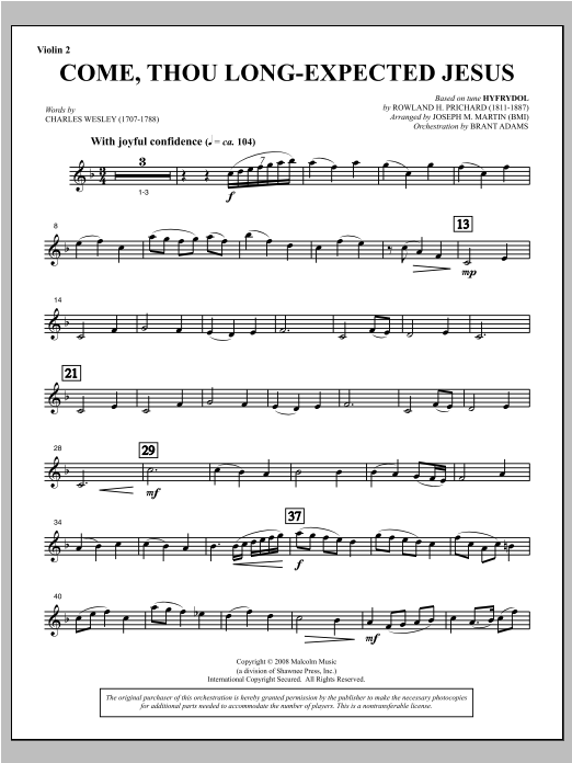 Come, Thou Long-Expected Jesus (from Carols For Choir And Congregation) - Violin 2 Sheet Music