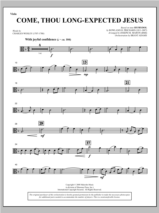 Come, Thou Long-Expected Jesus (from Carols For Choir And Congregation) - Viola Sheet Music