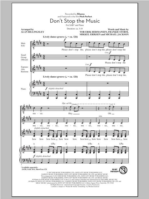 Don't Stop The Music (arr. Alan Billingsley) Sheet Music
