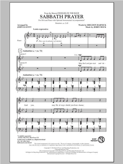 Sabbath Prayer From Fiddler On The Roof Sheet Music