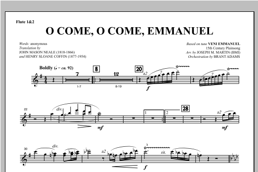 O Come, O Come, Emmanuel (from Carols For Choir And Congregation) - Flute 1 & 2 Sheet Music