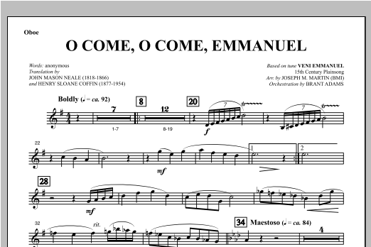 O Come, O Come, Emmanuel (from Carols For Choir And Congregation) - Oboe Sheet Music