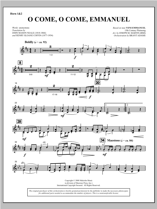 O Come, O Come, Emmanuel (from Carols For Choir And Congregation) - F Horn 1,2 Sheet Music